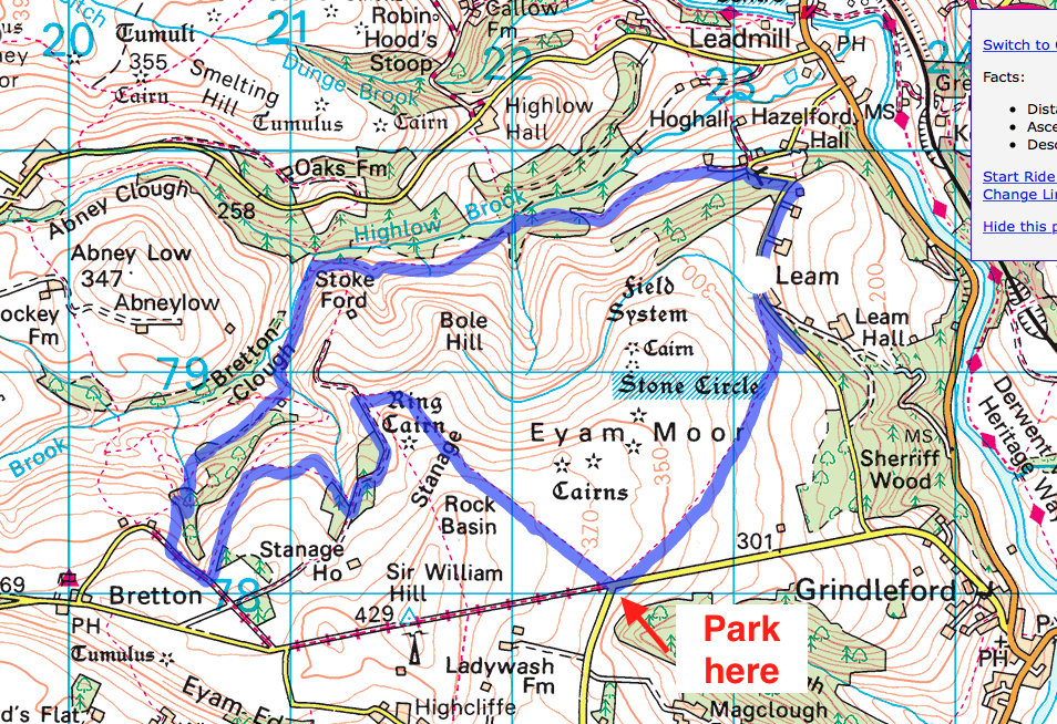 Eyam Moor Trail Run Map